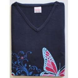 Bigshirt one size korte mouw nr. 1   Kleur donkerblauw met vlinders