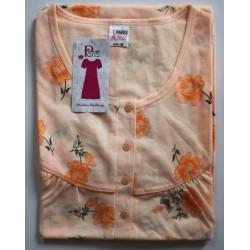 Nachthemd korte mouw nr. 30 bloemetjes | Maat M | Kleur zalm