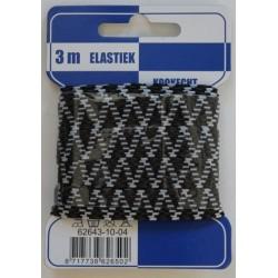 Elastiek zigzag zwart/grijs 10mm breed 3 meter / kaartje elastiek