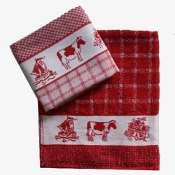 Keukenset DDDDD rood met o.a. koeien | Theedoek + keukendoek Holland