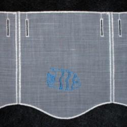 Valletje nr. 2 hoogte 18cm wit met blauw visje | Korte gordijn valletjes