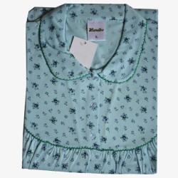 Nachthemd lange mouw nr. 14 klassiek met kraagje | Maat L | Lunatex blauw