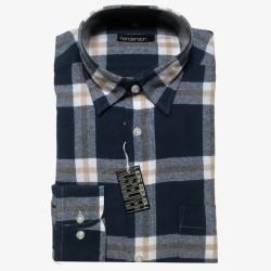 Flanellen overhemd maat M   Blauwe heren overhemden