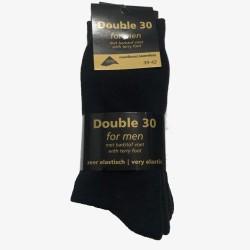 Double 30 sokken zwart badstof voet