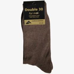 Double 30 sokken bruin badstof voet