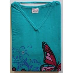 Bigshirt one size korte mouw nr. 3   Kleur groen met vlinders