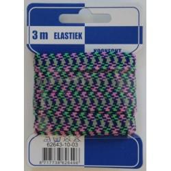 Elastiek zigzag blauw/groen/roze 10mm breed 3 meter / kaartje elastiek